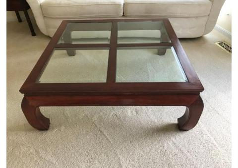 Wood and glass coffee table + two end tables